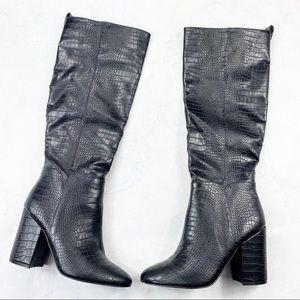 [Steve Madden] Rouge Black Crocodile Heeled Boots